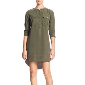 Banana Republic Military Green Hi-low Shirt Dress